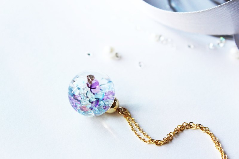 * Rosy Garden * Shiny clear purple and blue crystals water inside glass ball necklace