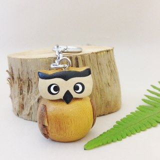 [X stereoscopic handmade wooden owl keychain / strap] ✦ so smart
