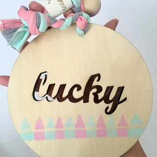 lucky good card greeting card wooden sign