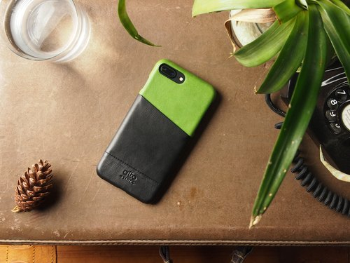 Alto iPhone 8 Plus Leather Phone Case Back Cover 5.5吋Metro - Lime Green/Raven Black