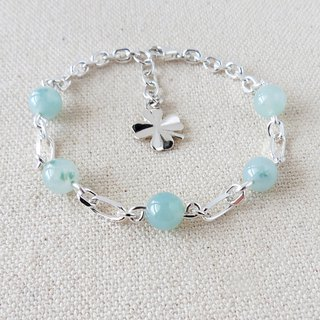 Sterling Silver***Fashion (Lucky Grass) Glazed Ice Lotus Flower Floating Jade Bracelet*** Lucky