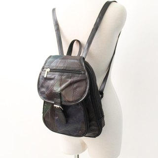 Retro Dark Block Splicing Black European Backpack Side Backpack Vintage Bag European Vintage Bag