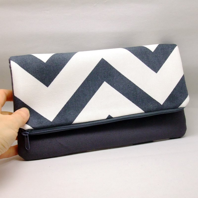 Foldover zipper clutch, cosmetic bag, wedding purse, makeup pouch, bridal, bridesmaid gifts set, cotton purse, travel bag (Ref. FZ20)