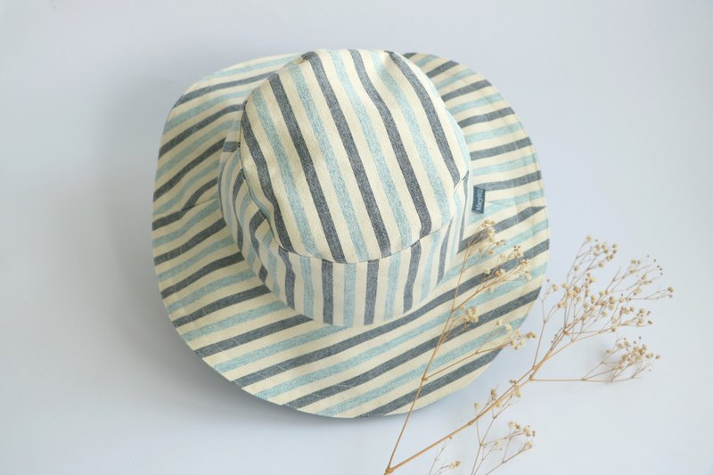 Mary Wil double-sided handsome big hat hat - blue stripes
