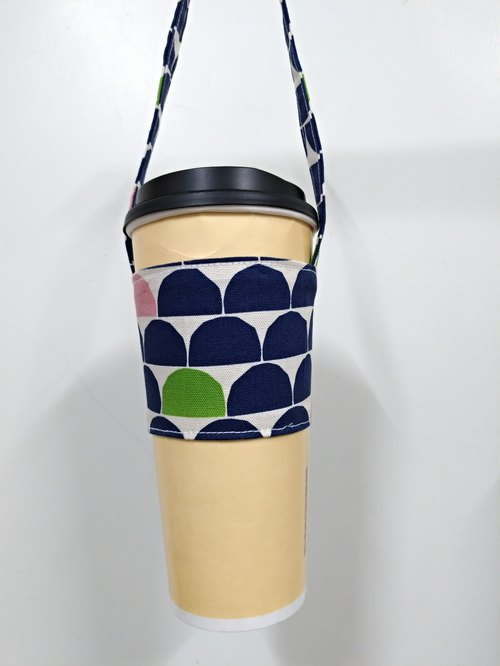 Drink Cup Set Eco Cup Set Hand Drink Bag Coffee Bag Tote Bag - Semicircle (Dark blue dot on white)
