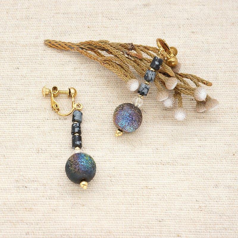 古董珠 / 神秘的甲蟲光澤耳環