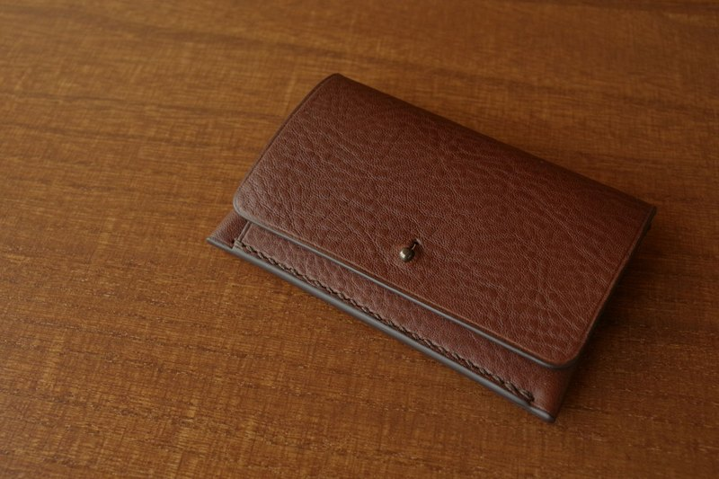 [Make-to-order production] Italian leather Business Card Case Giboshi type choco