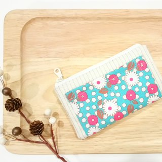 [FXS/ Four Degree Space Coin Purse] Small Daisy. Blue Green x Pink