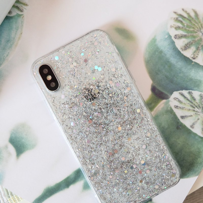 angel rain silver | case, phone case, glitter case, iphone case, samsung case