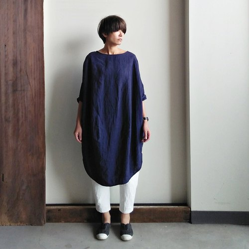 Seven points irregular gown linen dark blue