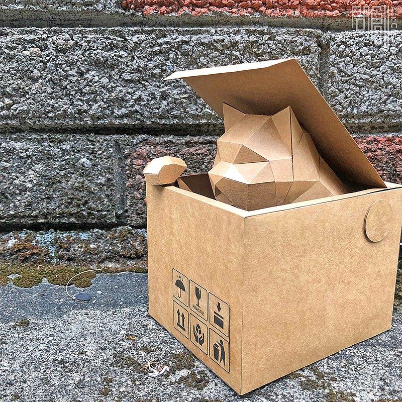 DIY手作3D紙模型擺飾 動態系列 -探頭貓 (貓咪4色可選)