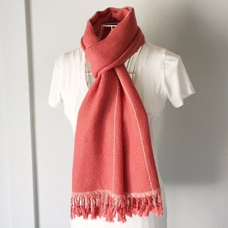 "Unisex hand-woven scarf ""Pink Orange with White lines"""