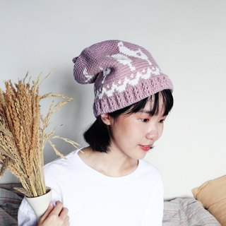 RedCheeks Wool Hat Cap | Yarn Hat | Bird Christmas - Pastel Pink Color - หมวกไหมพรม