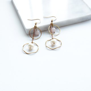 Brass Earrings | Pink Crystal | Natural Pearls | Geometric Ear Pins / Ear Clips