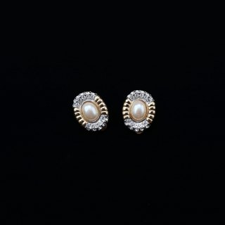 Pumpkin Vintage. Vintage Golden Pearl Rhinestone Earrings