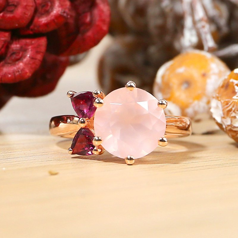 MISS LUNA - 10mm Rose Quartz with Rhodolite 18K Rose Gold Plated Silver Ring