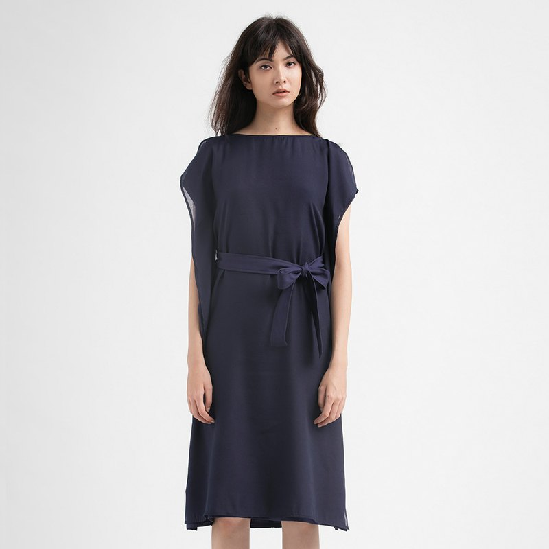 VACAE wide collar waistband knee-length dress