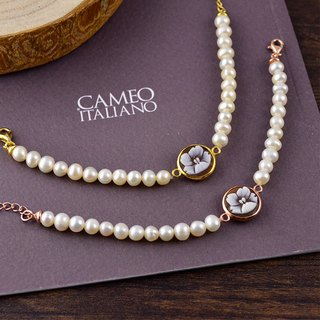 Italian handmade shell carving light jewelry - pearl shell carving bracelet - B3P rose gold / gold (flower)