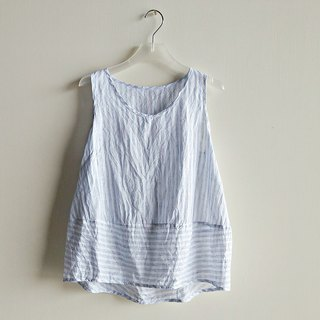 Slightly splicing vest linen white blue stripes