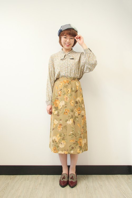 …{DOTTORI :: BOTTOM}Khaki Yellow Floral Skirt