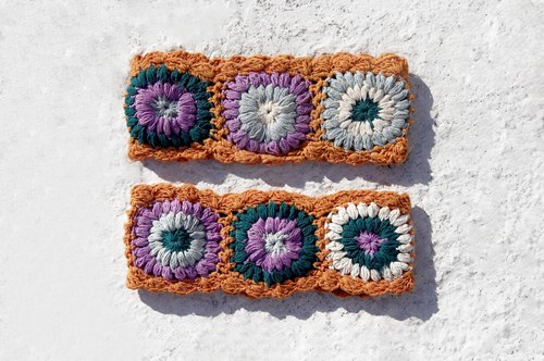 Valentine's Day gift hand-woven cotton hair band / braid colorful hair bands - orange orange line colorful crocheted flowers (the only remaining one)