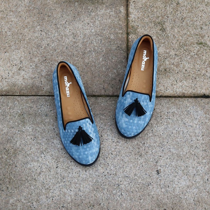 【Sneaky ripples】 limited handmade shoes / tie dyed tassel sufu blessing shoes / leather inside / snow / shoes / shoes / ladies shoes Model: B91902 light blue