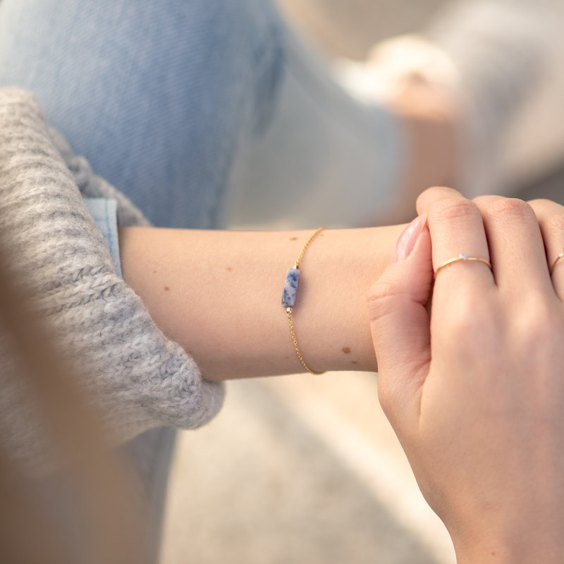 LITHUANIA bracelet, natural Sodalite and dainty 14k gold filled chain