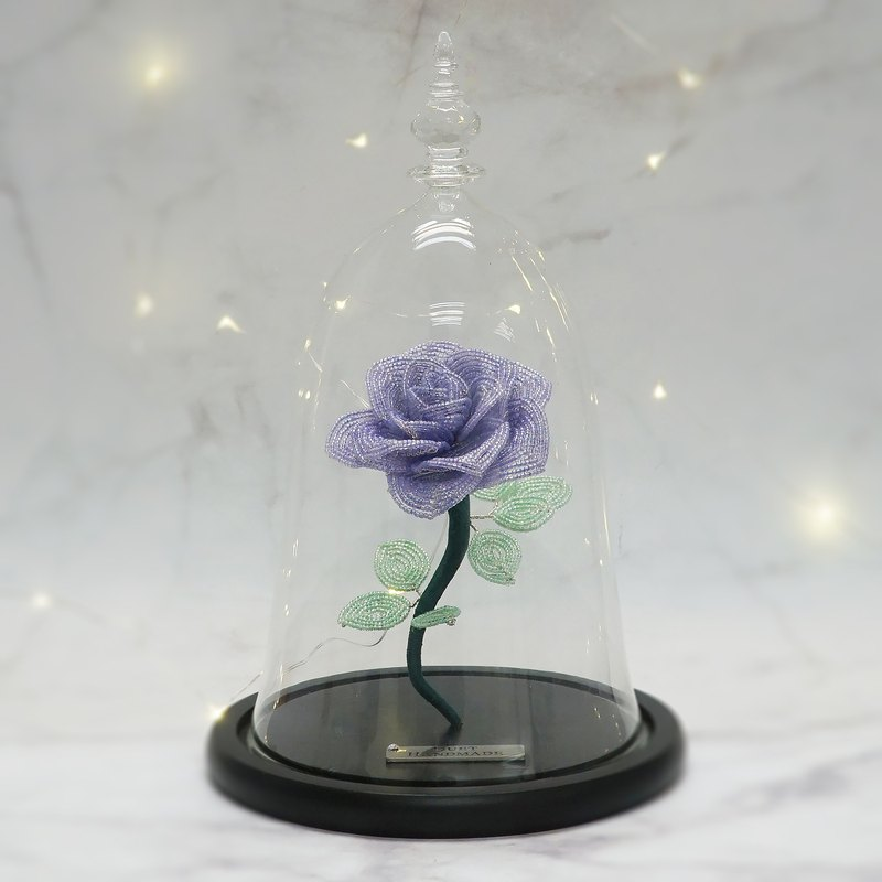 Handmade Home Décor | Gift | Eternal Bloom | French Beaded Rose in Glass Dome