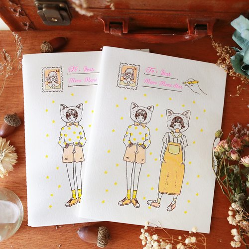 Meow star girl line fitted with blank notebook