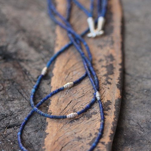 Lapis Lazuli beads and silver wrap beads two-tiered necklace (N0008)