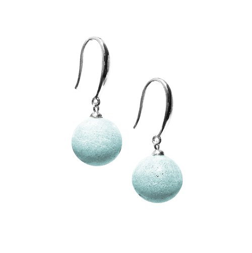 Candy cement bead earrings (ear hook style) - Mint