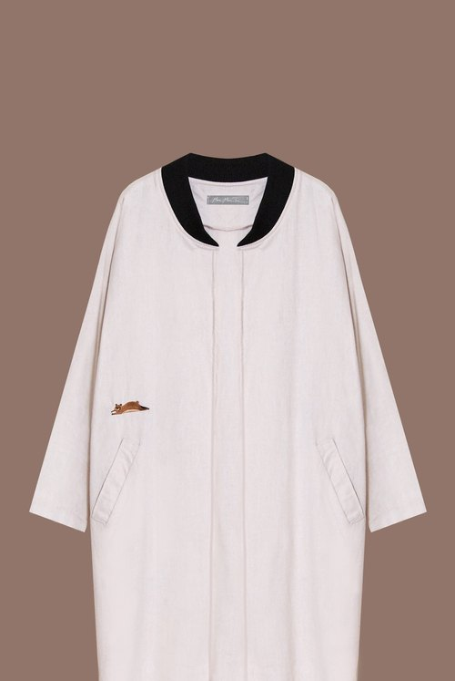 [Limited] seven lazy Bear Sang / baseball jacket collar cotton long plate