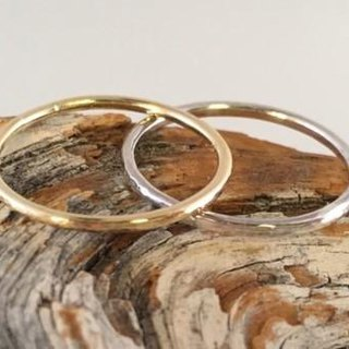 Gold ring and silver ring pairing set