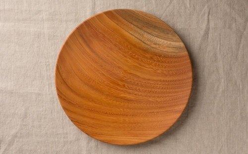 Wood 24cm 10 of the potter's wheel grind of wooden plate Zelkova (Zelkova)