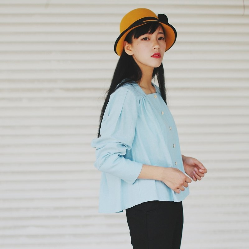 Annie Chen Chun color short paragraph long-sleeved linen shirt new female models flounced skirt detachable shirt