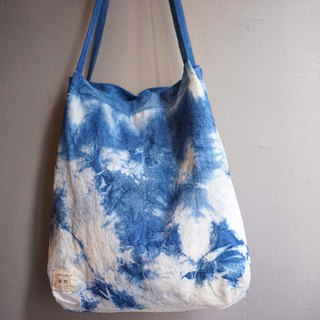 Blue dyed cotton sacks | Blue sky and white clouds