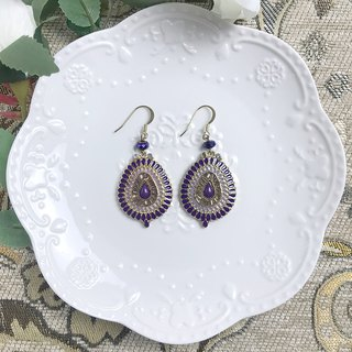 Purple Vintage Water Drops Antique Earrings BLA092