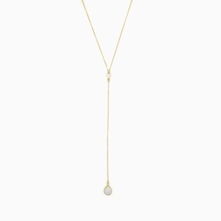 Moonstone Teardrop Lariat Necklace - 14K Gold Filled - Y Necklace - Layering