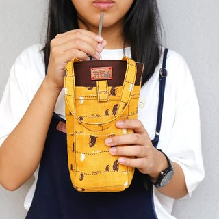 Thick environmentally friendly mobile phone drink bag (walking in the first line) mustard yellow