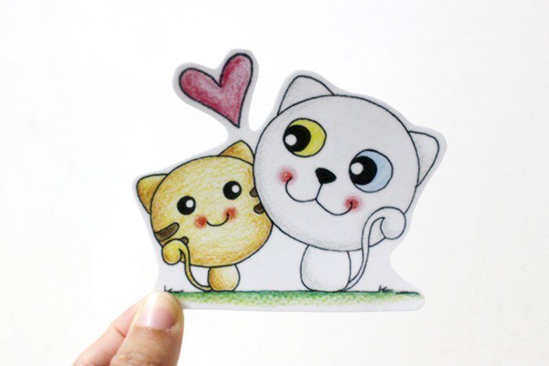 Waterproof sticker (large) _ cat couple