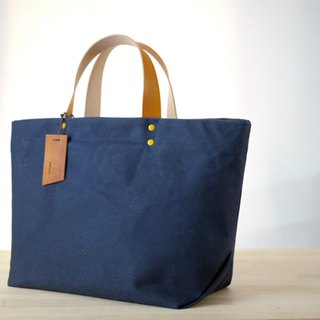 Big Wax Bag - Dark Blue Paraffin Canvas Tote Bag