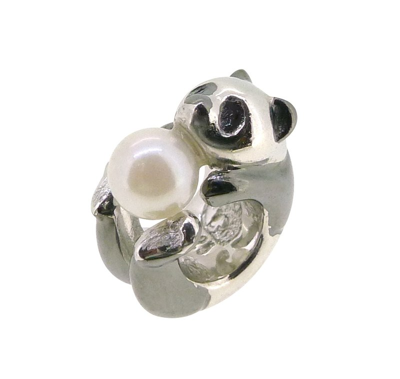 PANDA SHAPED SILVER CHARM WITH AKOYA PEARL