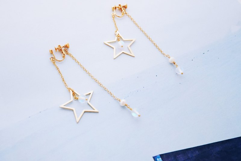 Grabbing - star metal frame fog square star river sense of precious stone earrings (gift graduation gift)