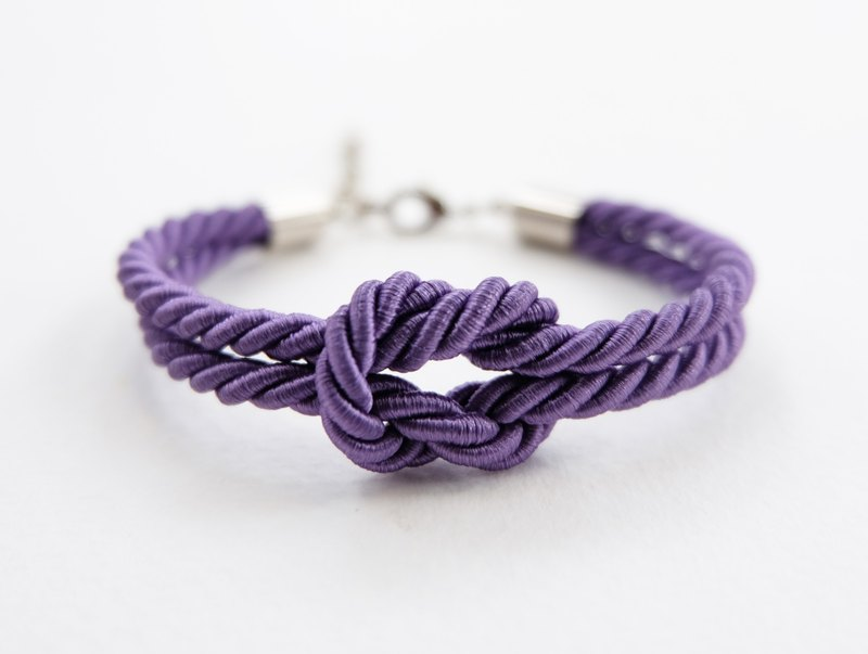 Purple knot rope bracelet