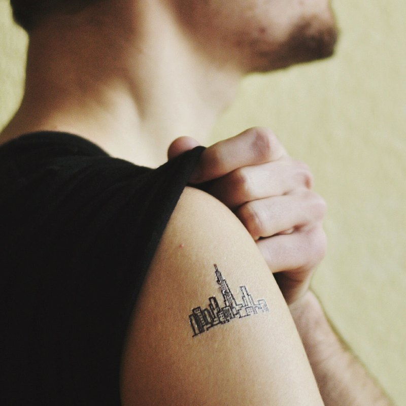 TOOD Tattoo Sticker | Arm Location Skyline Tattoo Tattoo Sticker (2 pieces)