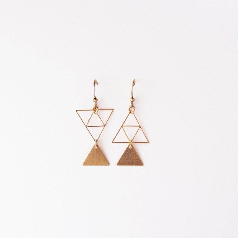 Geometric triangle. Change the brass earrings sisters girlfriends Mother's Day birthday gift