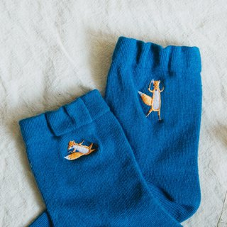 My socks have foxes - Ocean Blue │ Embroidered cotton socks