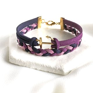 Handmade Double Braided Anchor Bracelets Rose Gold Series-dark purple