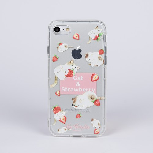 [Orange Cat Strawberry] transparent air soft shell / mobile phone shell