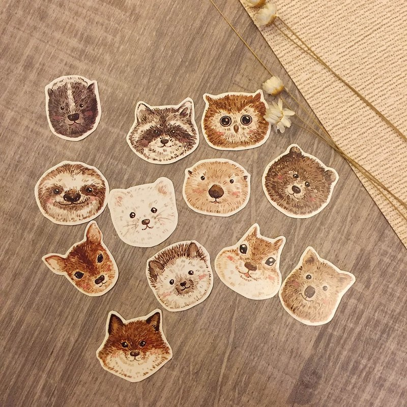 [Forest system] animal head stickers group